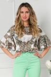 Bluza LaDonna alb cu kaki si animal print