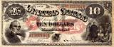 10 dolari 1875 Reproducere Bancnota USD , Dimensiune reala 1:1