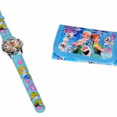 Set ceas pentru copii cu Elsa si Ana + portofel cadou - COCO6646