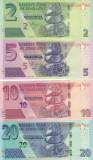 Bancnota Zimbabwe 2, 5, 10 si 20 Dolari 2019/20 - PNew UNC ( hibrid , set x4 )