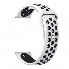 Curea silicon compatibila Samsung Galaxy Watch 46mm, telescoape Quick Release, 22mm, Alb/Negru