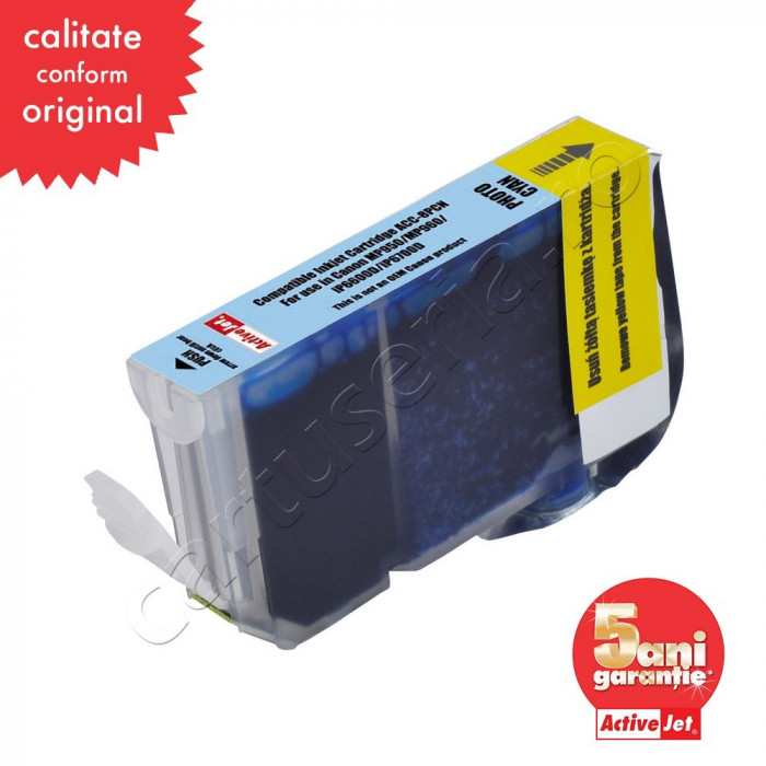 Cartus compatibil Canon CLI-8PC Photo Cyan cu cip marca ActiveJet