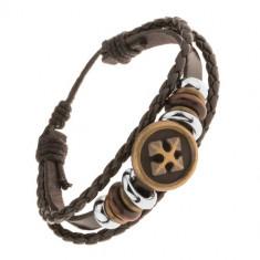 Brățară multiplă din piele și șnururi, mărgele din oțel și lemn, cruce în cerc