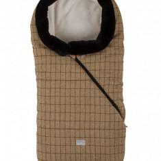 Nuvita Pop sac de iarna 100 cm Checkered Honey Beige cu guler de blana 9635