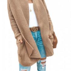 Y743-14 Cardigan casual, model tricotat cu guler larg
