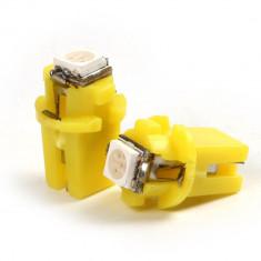 Led bec 1 smd 5050 soclu T5 B8.3D pentru bord de culoare galben