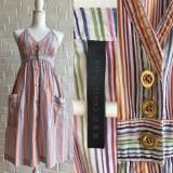 Rochie Mango stripped cu nasturi metalici aurii, stil vintage, colorata