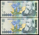 Romania, 10000 LEI 1999, UNC * 2 bancnote serii consecutive 012D3587508~509