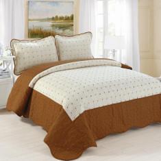 Cuvertura de pat + 2 Fete de Perne - Pat 2 Persoane - 100% Bumbac Brodat - E-C50