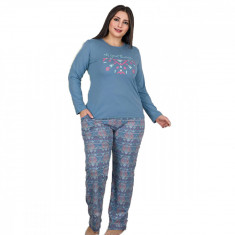 Pijama femei maneca lunga 3191 Albastru 4-XL