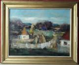 Peisaj case la tara, compozitie rustica, pictura in ulei pe panza