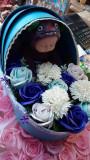 Aranjament- landou trandafiri sapun si bebelus plus pt o proaspata mamica