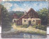 Case la malul lacului - Octav Bancila, Peisaje, Ulei, Impresionism