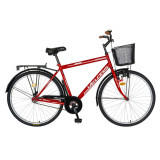 Cumpara ieftin Bicicleta City 28 Inch cu frane mecanice V-Brake Velors CSV28/93A, cadru rosu cu design alb