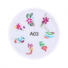 Stampila pentru unghii MMM3-A4, model floral