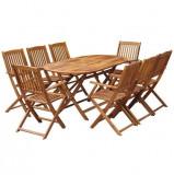 Set mobilier de exterior 9 piese, lemn masiv de salcâm