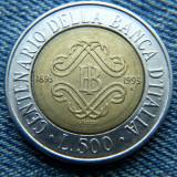 2m - 500 Lire 1993 Italia / / moneda bimetal comemorativa, Europa
