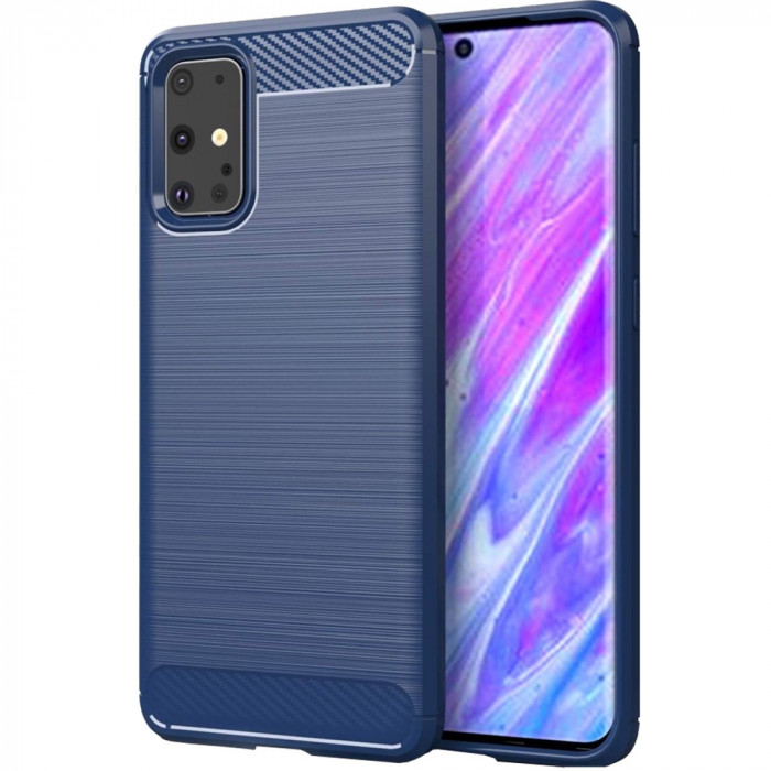 Husa Capac Spate Carbon Albastru SAMSUNG Galaxy S20 Ultra