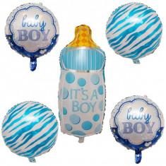Set 5 Baloane folie figurine pentru baietel la botez