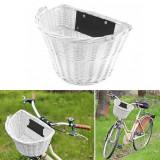 Cos ratan alb pentru bicicleta, montare ghidon, toarta rabatabila, design vintage, Malatec