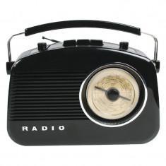 Radio AM/FM Konig, design retro, Negru