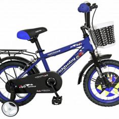 Bicicleta copii FIVE Deino 14 cadru otel culoare albastru negru roti ajutatoare varsta 3 5 ani