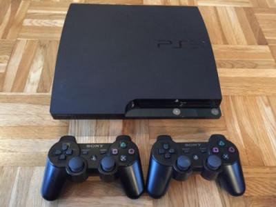 PS3 superslim modat 500Gb + 2 manete + GTA 5, Fifa 19 , Minecraft 20 jocuri foto