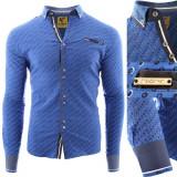 Camasa pentru barbati flex fit albastru casual cu guler SED025BL