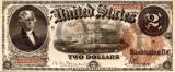 2 dolari 1880 Reproducere Bancnota USD , Dimensiune reala 1:1