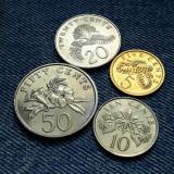 #25 Lot 5, 10, 20, 50 Cents 1985 - 1986 Singapore / 4 monede, Asia
