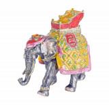 Caseta de bijuterii din metal emailat cu un elefant CL203