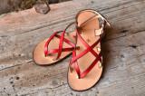 Cumpara ieftin Sandale Dama Model Victory Piele Naturala Rosu - Curele Complet Ajustabile