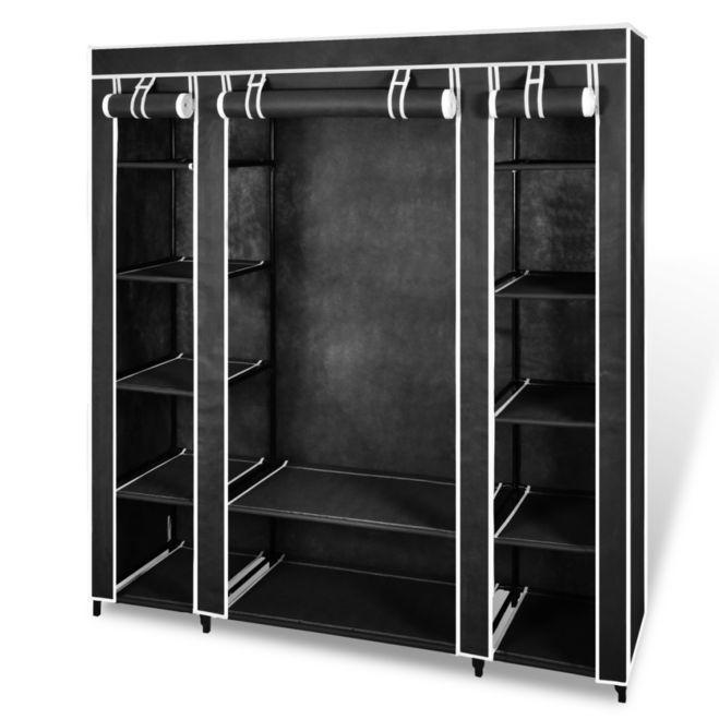 Dulap material textil compartimente și tije, 45x150x176cm negru