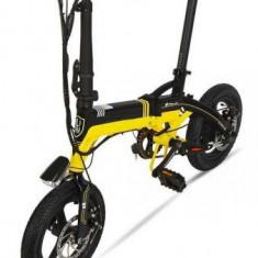 Bicicleta electrica CoolBike S1, Viteza maxima 25-35 km/h, Autonomie 35 km, Motor 250 W, Pliabila, Roti 14inch (Negru/Galben)