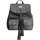 Light Grey Animal Print Limited Edition Leather Backpack, Negru