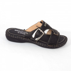 Papuci din piele naturala Medline 404 Negru