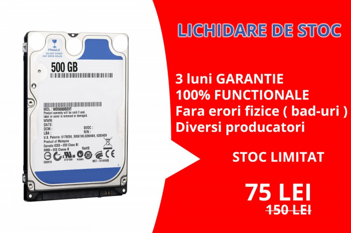 Hard Disk Laptop 2.5 inch 500GB 5400 RPM 8MB SATA 2 Diversi Producatori