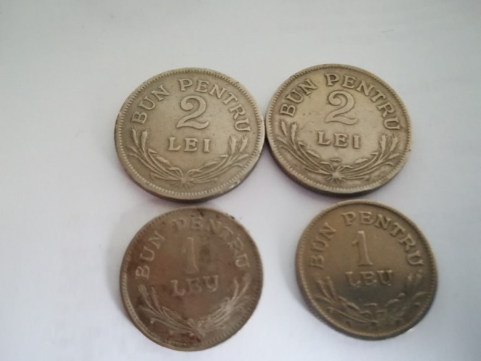 lot monezi 1 si 2 lei 1924