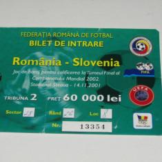 Bilet meci fotbal ROMANIA - SLOVENIA (14.11.2001)