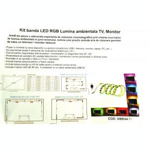 Kit banda LED RGB Lumina ambientala TV, Monitor, Mobilier AMBI44 5V