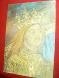 Ilustrata - Portretul lui Stefan cel Mare - Fresca Voronet , anii '70