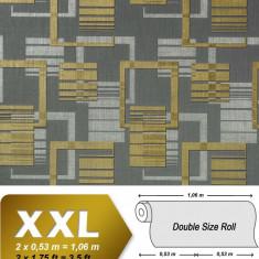 Tapet gri model meometric cu finisaj metalic evidentiat 609-96