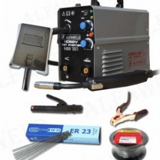 Pachet aparat de sudura cu electrozi si sarma fara gaz tip invertor Alfaweld HobbyMIG -MMA 131