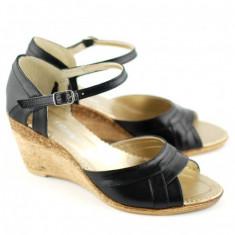 Sandale dama negre, din piele naturala cu platforma - S54N