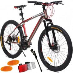 Bicicleta Mountain Bike MalTrack Sport, roata 26 inch, 21 viteze Shimano, cadru otel 18 inch, frane disc, gri-rosu foto