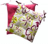 Pernuta pentru scaun cu doua fete rosie cu flori 45x45cm Raki