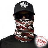 Bandana/Face Shield/Cagula/Esarfa - Crimson Military Camo, made in USA, Din imagine