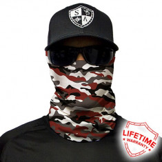 Bandana/Face Shield/Cagula/Esarfa - Crimson Military Camo, made in USA