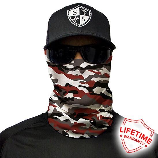 Bandana/Face Shield/Cagula/Esarfa - Crimson Military Camo, made in USA