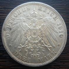 (A733) MONEDA DIN ARGINT GERMANIA, PRUSIA - 3 MARK 1910, LIT. A, WILHELM II